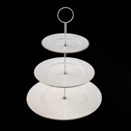 Cake Stand White/Gold 3 Tier