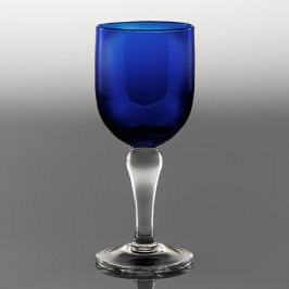 Blue Goblet Clear Stem